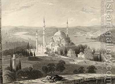 Mosque and Tomb of Sulieman, from the Seraskier's Tower, Istanbul, Turkey by (after) Bartlett, William Henry - Reproduction Oil Painting