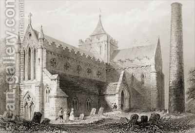 St. Canice's Cathedral, Kilkenny, County Kilkenny, Ireland by (after) Bartlett, William Henry - Reproduction Oil Painting