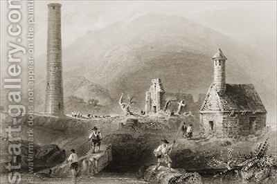 The Ruins at Glendalough, County Wicklow, Ireland by (after) Bartlett, William Henry - Reproduction Oil Painting
