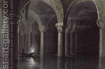 Yere Batan Serai (The Cisterns) Istanbul by (after) Bartlett, William Henry - Reproduction Oil Painting