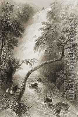 Turc Waterfall, County Killarney, Ireland by (after) Bartlett, William Henry - Reproduction Oil Painting