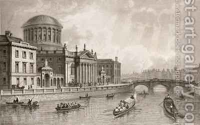 The Four Law Courts, Dublin by (after) Bartlett, William Henry - Reproduction Oil Painting