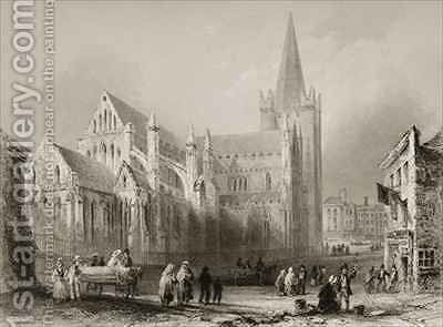 Exterior of St. Patrick's Cathedral, Dublin by (after) Bartlett, William Henry - Reproduction Oil Painting