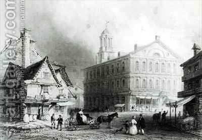 Faneuiel Hall, Boston by (after) Bartlett, William Henry - Reproduction Oil Painting