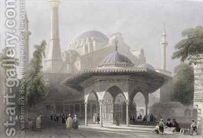 Court and Fountain of St. Sophia, Istanbul by (after) Bartlett, William Henry - Reproduction Oil Painting