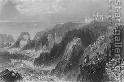 View of Slaines Castle, near Peterhead by (after) Bartlett, William Henry - Reproduction Oil Painting