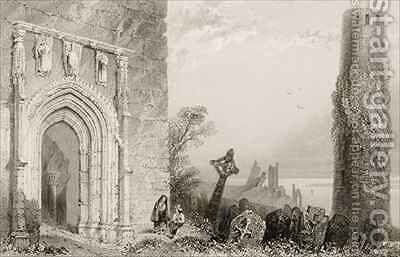 Doorway to a Temple, Clonmacnois, County Offaly, Ireland by (after) Bartlett, William Henry - Reproduction Oil Painting