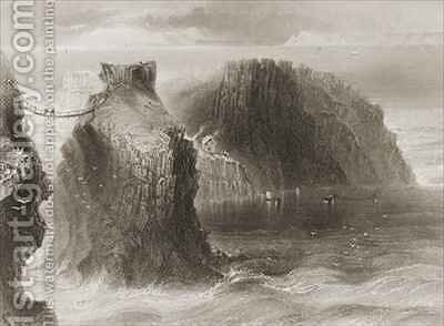 Carrick-a-Rede Rope Bridge, County Antrim, Northern Ireland by (after) Bartlett, William Henry - Reproduction Oil Painting