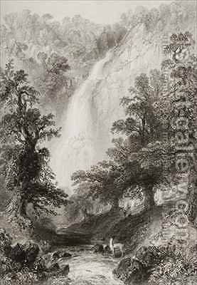 The Waterfall, Powerscourt, County Wicklow, Ireland by (after) Bartlett, William Henry - Reproduction Oil Painting