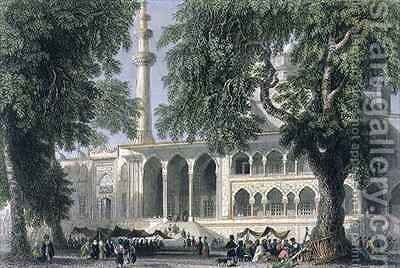 Yeni Djami, or Mosque of the Sultana Valide, Istanbul by (after) Bartlett, William Henry - Reproduction Oil Painting