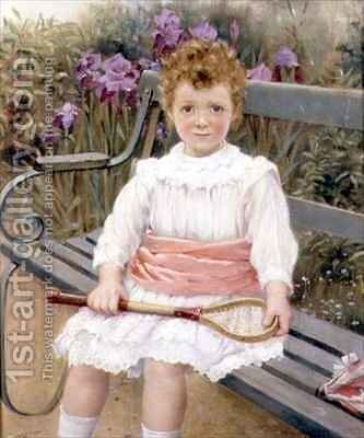 Girl with a Badminton Racket by Charles William Bartlett - Reproduction Oil Painting