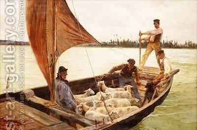 A Breezy Crossing by Charles William Bartlett - Reproduction Oil Painting