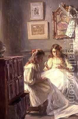 Sewing by Marius Bartholoty - Reproduction Oil Painting