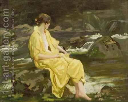 By a Highland Stream by Archibald George Barnes - Reproduction Oil Painting