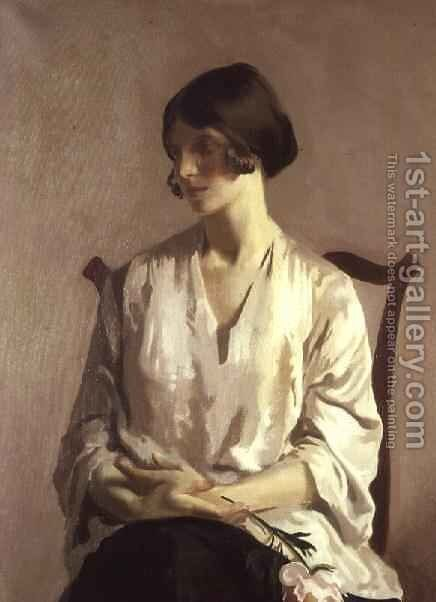 Portrait of a Young Lady (The Artist's Wife) by Archibald George Barnes - Reproduction Oil Painting