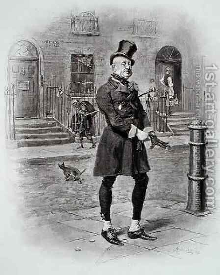 Mr Micawber, from 'David Copperfield' by (after) Barnard, Frederick - Reproduction Oil Painting