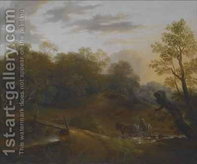 Pony Cart Crossing a Woodland Brook by Benjamin Barker - Reproduction Oil Painting