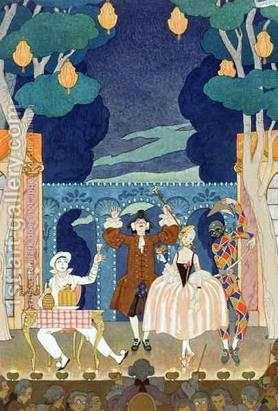 Pantomime Stage by (after) Barbier, Georges - Reproduction Oil Painting