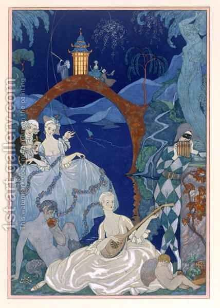 Ball Under the Blue Moon by (after) Barbier, Georges - Reproduction Oil Painting