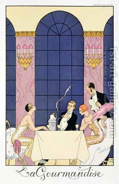 The Gourmands by (after) Barbier, Georges - Reproduction Oil Painting