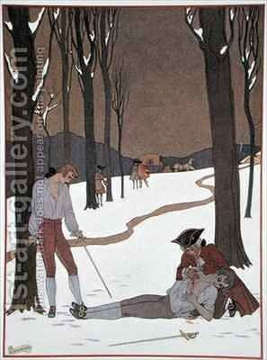 The Duel between Valmont and Danceny by (after) Barbier, Georges - Reproduction Oil Painting