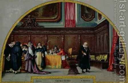 The Trial of Galileo Galilei (1564-1642) in 1633 by (after) Barabino, Nicolo - Reproduction Oil Painting