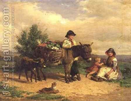 A Pause on the Way to Market by J.O. Banks - Reproduction Oil Painting