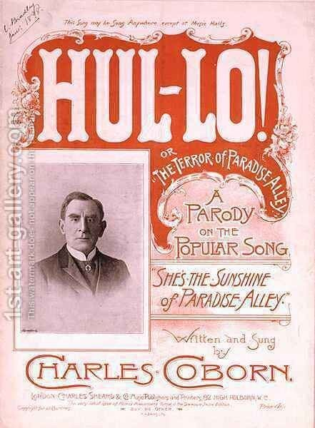 Front cover of the music score for 'Hul lo', or 'The Terror of Paradise Alley' by H. G. Banks - Reproduction Oil Painting