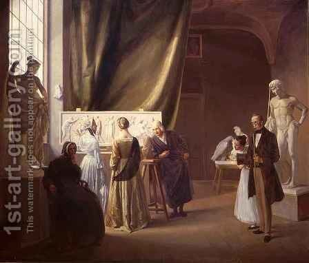 The Studio of Bertel Thorvaldsen (1770-1844) by Christian Bang - Reproduction Oil Painting