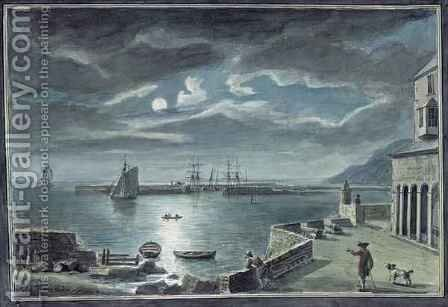 The Harbour and the Cobb, Lyme Regis, Dorset, by Moonlight by Coplestone Warre Bampfylde - Reproduction Oil Painting