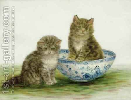 Kitten in a Blue China Bowl by Bessie Bamber - Reproduction Oil Painting