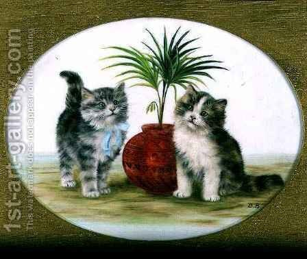 Kittens by a Palm in a Bowl by Bessie Bamber - Reproduction Oil Painting