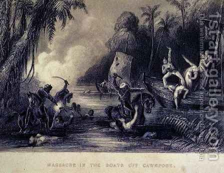 Massacre off Cawnpore, from 'The History of the Indian Mutiny' by Charles Ball - Reproduction Oil Painting