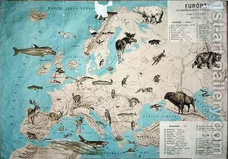 Map of animals in Europe by Janos Balint - Reproduction Oil Painting