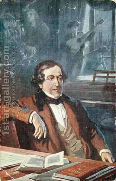 Postcard depicting Gioacchino Rossini (1792-1868) composing 'The Barber of Seville' by (after) Balestrieri, Lionello - Reproduction Oil Painting