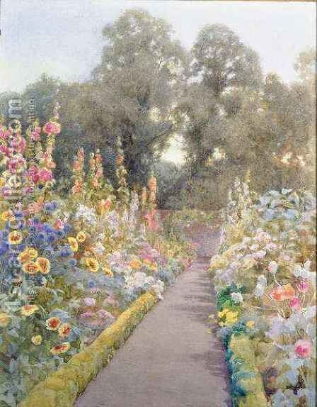 Garden Path with Hollyhocks and Poppies by Blanche Baker - Reproduction Oil Painting