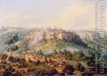 Attack on Stocks Kraall in the Fish River Bush by Thomas Baines - Reproduction Oil Painting