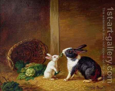 Two Rabbits by H. Baert - Reproduction Oil Painting