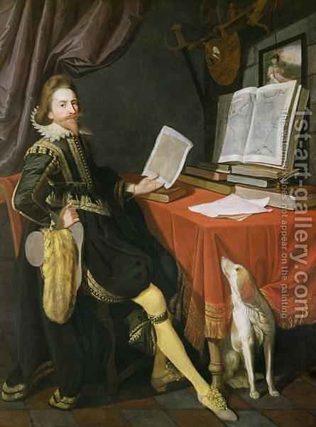 Self Portrait by Sir Nathaniel Bacon - Reproduction Oil Painting