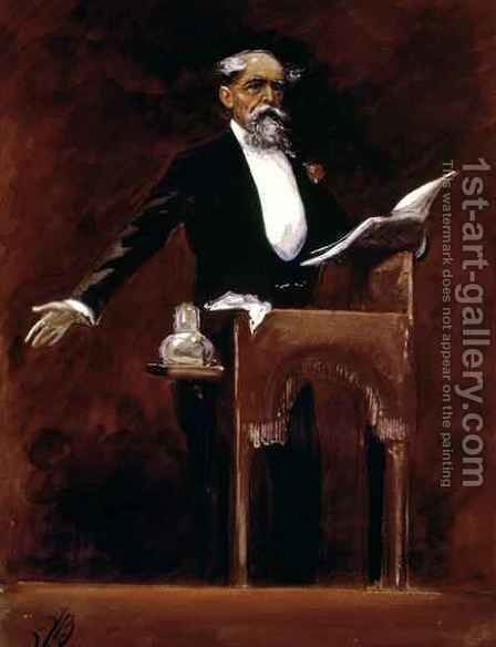 Charles Dickens (1812-70) by James Bacon - Reproduction Oil Painting