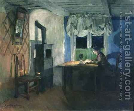 By Lamplight by Harriet Backer - Reproduction Oil Painting