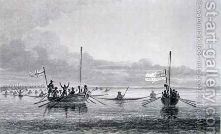 Eskimaux Coming Towards the Boats in Shoalwater Bay by (after) Back, George - Reproduction Oil Painting