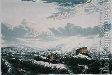 Canoe broaching to, in a gale of wind at sunrise by (after) Back, George - Reproduction Oil Painting