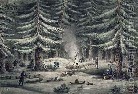 Manner of Making a Resting Place on a Winter Night by (after) Back, George - Reproduction Oil Painting
