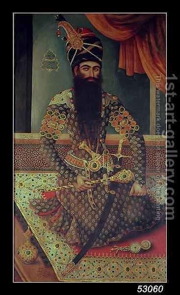Fath' Ali Shah (1771-1834), King of Persia by Mirza Baba - Reproduction Oil Painting
