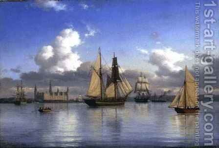 Sailing Vessels off Kronborg Castle, Sweden by Carl Emil Baagoe - Reproduction Oil Painting