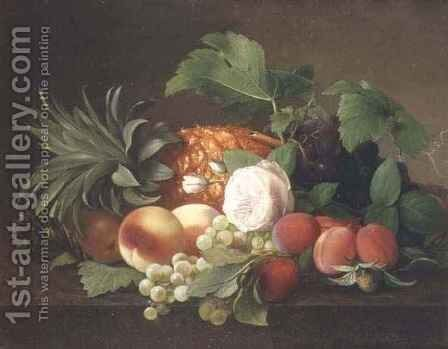 Still life with pineapple, peaches, plums and grapes by Alfrida Vilhelmine Ludovica Baadsgaard - Reproduction Oil Painting