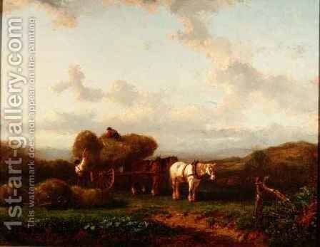 Animals Grazing in a Meadow by Hendrikus van de Sende Baachyssun - Reproduction Oil Painting