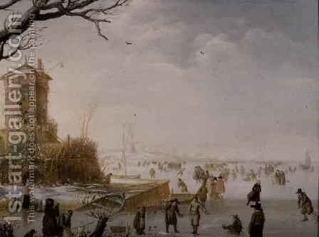 A Winter Scene with Figures on the Ice by Barent Avercamp - Reproduction Oil Painting