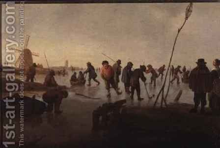 Figures skating on Frozen Waterway by Barent Avercamp - Reproduction Oil Painting